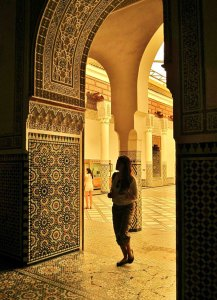 Wandering inside a medursa in Marrakech.
