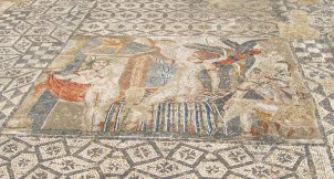 One of the most erotic floor mosaics in Volubilis - an image of Diana bathing and cursing the hunter Acteon for spying.