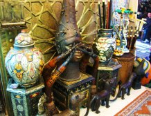 Hand-carved and painted woodwork from a souk in Marrakech.