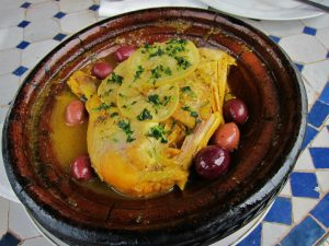 A lemon and olive-covered chicken tagine from a restaurant in Marrakesh.