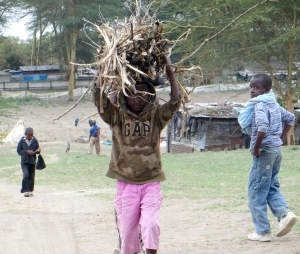This is normal, because this is Africa - a young girl works in a fishing village near Naivasha.