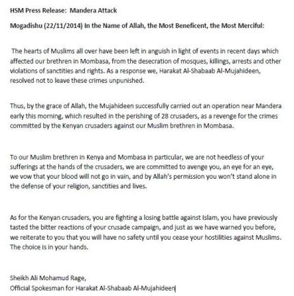 Unauthenticated press release from the leader of Al-Shebaab.